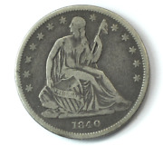 1840 50c Seated Liberty Silver Half Dollar Fifty Cents Philadelphia Small Letter