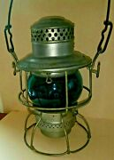 Northern Pacific Railroad Lantern With Blue N.p.ry. Etched Globe