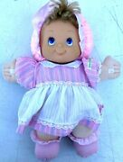 Cabbage Patch Kids Baby Doll Plastic Face 14andrdquo Blue Eyes Pink Dress Bonnett