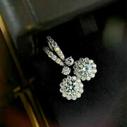 3.05 Ct Round Cut Diamond Womenand039s Halo Drop/dangle Earrings 14k White Gold Over