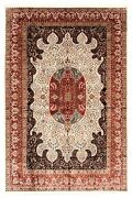Hand-knotted 8and03910 X 13and0399 Kashmir Bordered Traditional Silk Rug