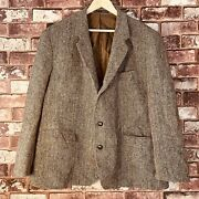Harris Tweed Jacket Mens Xxl Hand Woven Blazer Relaxed Fit Country Mid Length
