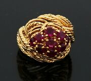 Bucheron Paris Heavy 18k Yellow Gold 2.0ct Ruby Cable Cluster Ring Size 3.5