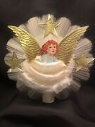 Vintage Angel Tree Topper Spun Glass Gold Foiled Cardboard Wings And Stars Boxed