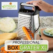 Professional Box Grater Stainless Steel Best For Cheese Ginger Vegetables Xl