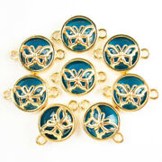 15pcs Wrapped Blue Crystal Round Gold Butterfly Connector Pendant Bead 1763sj