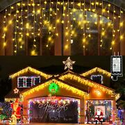 132ft Christmas Lights Decorations Outdoor, 1280 Led 8 Modes Curtain Fairy Light