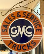 Large Vintage And039and039gmc Trucksand039and039 Double Sided 30 Inch Porcelain Sign W/ Bracket