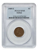 1909-s Indian 1c Pcgs Xf45 - Key Date - Indian Cent - Key Date