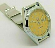 Seiko 5 Automatic Menand039s Steel Yellow Day/date Dial Vintage Japan Watch Run