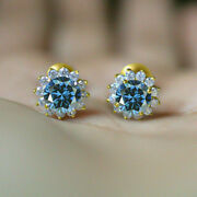 2 Ct Round Cut Blue Topaz And Diamond Halo Stud Women Earrings 14k Yellow Gold Fn