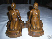 Antique Art Deco Nude Bust Statue Bookends Chic Lady Bronze Shabby Frankart Hair