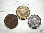 3 Antique Medals Gold, Silver, And Bronze 13727h