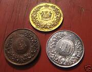 3 Antique Medals Gold, Silver, And Bronze 13727 I