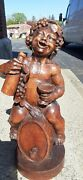 Antique Carved Wooden Figure Of Boy On Wine Barrel, Young Bacchus Inv 15778