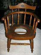 Primitive Baby Child Wood Potty Chair Country Victorian Art Nouveau Plant Stand