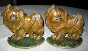 Antique Hubley Cast Iron Pekingese Dog Bookends Home Art Statue Chinese Asian