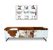 Cow Hide Leather Seating Bench. Real Fur Illustration In Cow Skin Brown-white