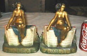 Antique Kando Kronheim And Oldenbusch Nude Lady Bust Art Statue Book Bookends Nice