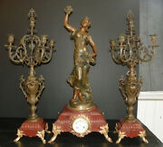 3 Pc Spelter Clock Set W/ Woman Holding Grapes 16008