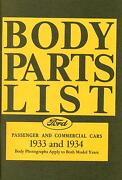 1933 1934 Ford Model A Body Parts List-covers Passenger And Commercial Cars