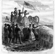 Civil War Fort Sumter General Gillmore And Staff Canon Flag Women Antique