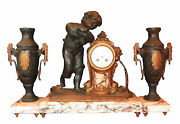 3pc Two Tone Spelter Clock Set W/ Side Urns 16021