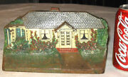 Antique C.j.o. Judd Mfg. Colorful Cast Iron House Home Cottage Flower Doorstop