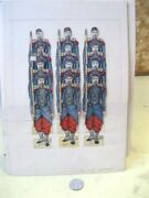 Vintage Paper Soldier Toy Display,12 French Foot Soldiers,c.1900,2