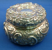 All Sterling Very Fancy Repoussed Powder Dresser Jar