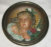 Antique Victorian Bradley And Hubbard Cast Iron Wall Art Lady Bust Flower Plaque