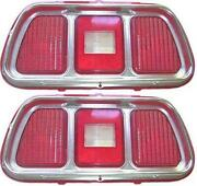 71-73 Mustang Tail Light Lenses And Trim Pair New