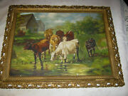 Primitive Antique Country Farm Milk Cow Tree Oil Painting Wood Gold Art Frame