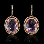 14k Rose Gold And Black Rhodium Diamond And Pink Amethyst Dangle Earrings