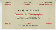 1920s Adv Trade Card For Chas. Wimmer Commercial Photographer Perkasie Pa