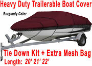 20and039 21and039 22and039 V-hull Fish/ski Trailerable Boat Cover Color Burgundy B1787r