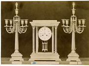 Large 1880s French Neoclassical Clock And Garniture Albumen Advertising Photo