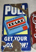Antique Chocolate Ex Lax Grocery Pharmacy Store Door Push Porcelain Art Sign