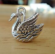 Sterling Silver 3d 15x15mm 7 Swans Swimming 12 Days Of Christmas Swan Charm