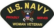 Navy Woman Veteran Proudly Served Embroidered Military Logo 5 Patch