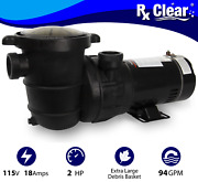 Rx Clear Above Ground 2 Hp Single Speed Pump For Swimming Pool W/ Cord