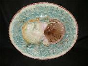Antique Majolica Pottery Shell And Coral With Waves Platter 13.50 X 11