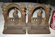 Antique Architectural Bradley Hubbard Peacock Urn Post Fence Cast Iron Bookends