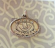 20 Off Sale Sterling Silver 16x20mm Oval Rodeo Princess Rope Design Charm