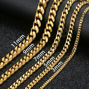 18-36 Stainless Steel Gold Chain Cuban Curb Mens Women Necklace 3/5/7/9/11mm