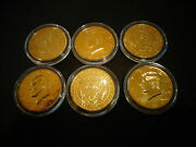 Lot Of 6 24 K Gold Plated Jf Kennedy Half Dollar Coin Set -air Tight Capsule