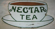Antique Die Cut Nectar Tea Porcelain Art Advertising Cup Sign Coffee Cafe Food