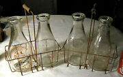 2 Antique Primitive Country Dairy Cow Farm Milk Bottle And Wood Wire Rack Carriers