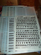 U. Nos Letraset Lettering 10 X 15 Sheet Various Fonts Sizes Use Drop-down Box