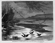 Duck Shooting In Winter 1871 Decoys Hunters Sheltered Frozen River Duck Boat Ice